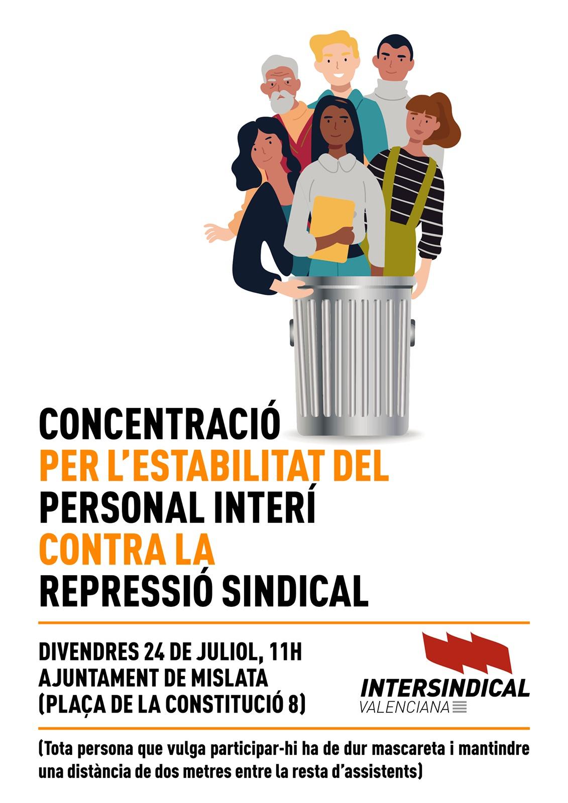 INTERSINDICAL CONVOCA UNA CONCENTRACIÓ DAVANT AJUNTAMENT DE MISLATA